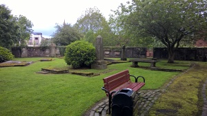 This photograph is of Inverkip Cemetery. John Galt is buried here. If you expand the photograph you can seen how some of the tombstones are covered over. Photograph courtesy of the blog author.